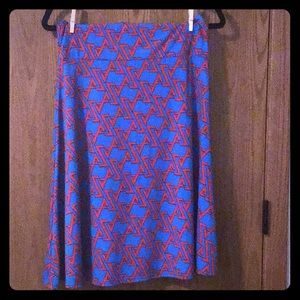 Red and blue skirt